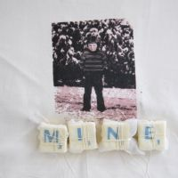 Mine - Photo Transfer on Cotton, Scrabble Tiles