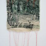 Earth-Bound II- Collograph Print on Fabric, Pleated & Stitched