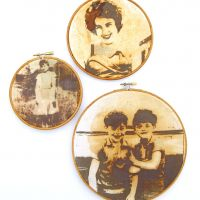 Reparation Series ( Mam, Katty & Twins) - Screenprint/Flocked iron Filings, Rusted & Stitched