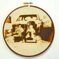 Reparation Series (Cross Babies) - Screenprint/Flocked iron Filings, Rusted & Stitched