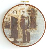 Reparation Series (Kitty & John) - Screenprint/Flocked iron Filings, Rusted & Stitched