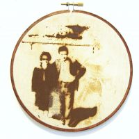 Reparation Series (Newly Weds) - Screenprint/Flocked iron Filings, Rusted & Stitched