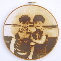 Reparation Series (twins) - Screenprint/Flocked Iron Filings, Rusted & Stitched