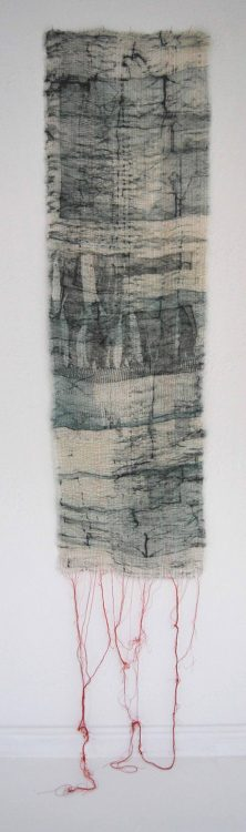 Earth Bound - Collagraph on muslin, pleated and stitched