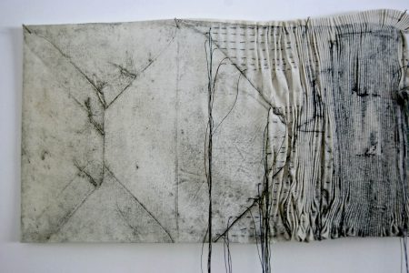 Latitude - Collagraph on cotton, pleated and stitched
