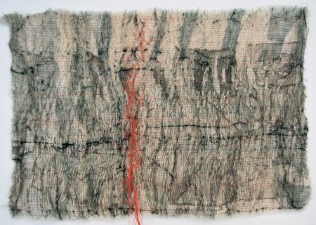 Sunder - Collagraph on muslin, pleated and stitched