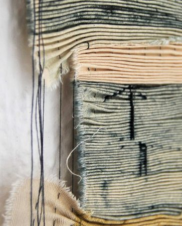 Totem - Collagraph on cotton, pleated and stitched